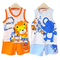 Pack of 2 Sets Hikfly Baby Boys' Girls' Cotton Sleeveless Vest Tops and Short...