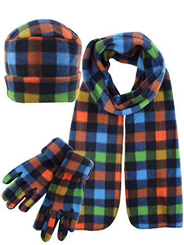 Green Plaid Fleece 3 Piece Hat Scarf & Glove ()