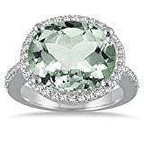 Silvercz Jewels 8 Carat oval Green Amethys & Simulated Diamond Ring In 14K White Gold Plated
