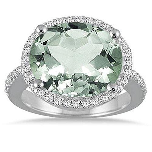Silvercz Jewels 8 Carat oval Green Amethys & Simulated Diamond Ring In 14K White Gold Plated by Silvercz Jewels