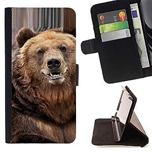 - NATURE BEAST BEAR ANIMAL FURRY CUTE - - Prima caja de la PU billetera de cuero con ranuras para tarjetas, efectivo desmontable correa para l Funny HouseFOR Samsung Galaxy S6