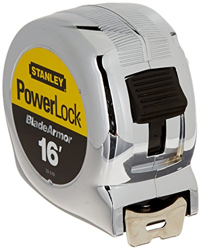 (Stanley 33-516 Powerlock Tape Rule Reinforced with Blade Armor Coating, 16-Feet x 1-Inch,  Chrome)