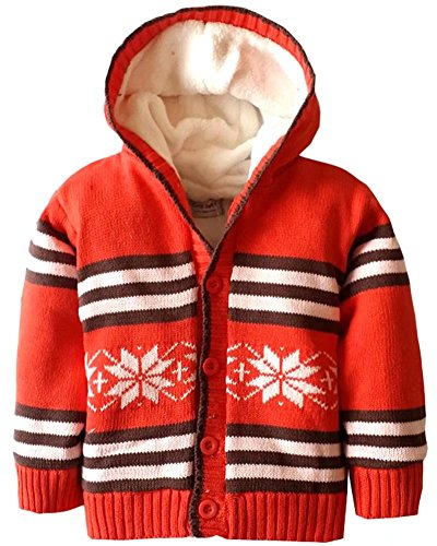 Baby Snowflake Cardigan (Baby Sherpa Lined Hooded Sweater Toddler Boys Girls Snowflake Plush Fleece Hoodie Christmas Sweater Cardigan Coat, Red, Age 12M-18M ( 12-18 Months ) = Tag 2A)