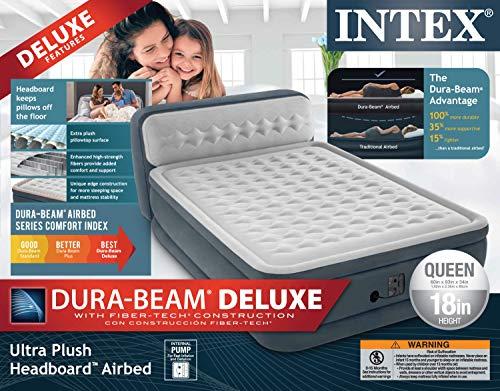 IntexDura Beam Deluxe Airbed with Headboard-Queen