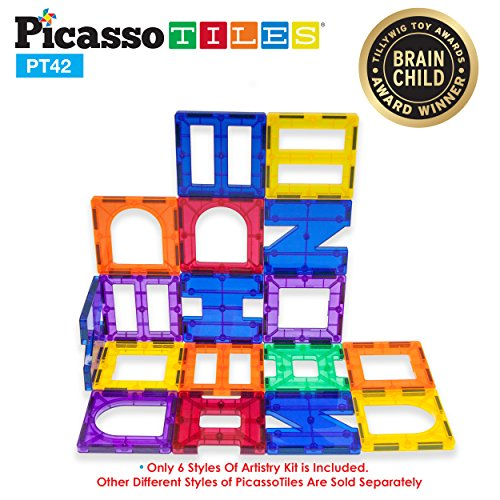 PicassoTiles¨ PT42 Designer Artistry Kit 42pcs Set Magnet Building Tiles Clear Color Magnetic 3D Building Block - Creativity Beyond Imagination! Educational, Inspirational, Conventional, Recreational