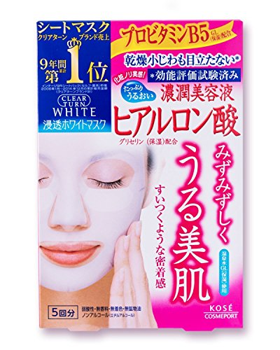 - KOSE CLEAR TURN Japan・ White Mask HA d ( Hyaluronic Acid ) 5 Sheets | Fragrance Free | Color Free | Alcohol Free