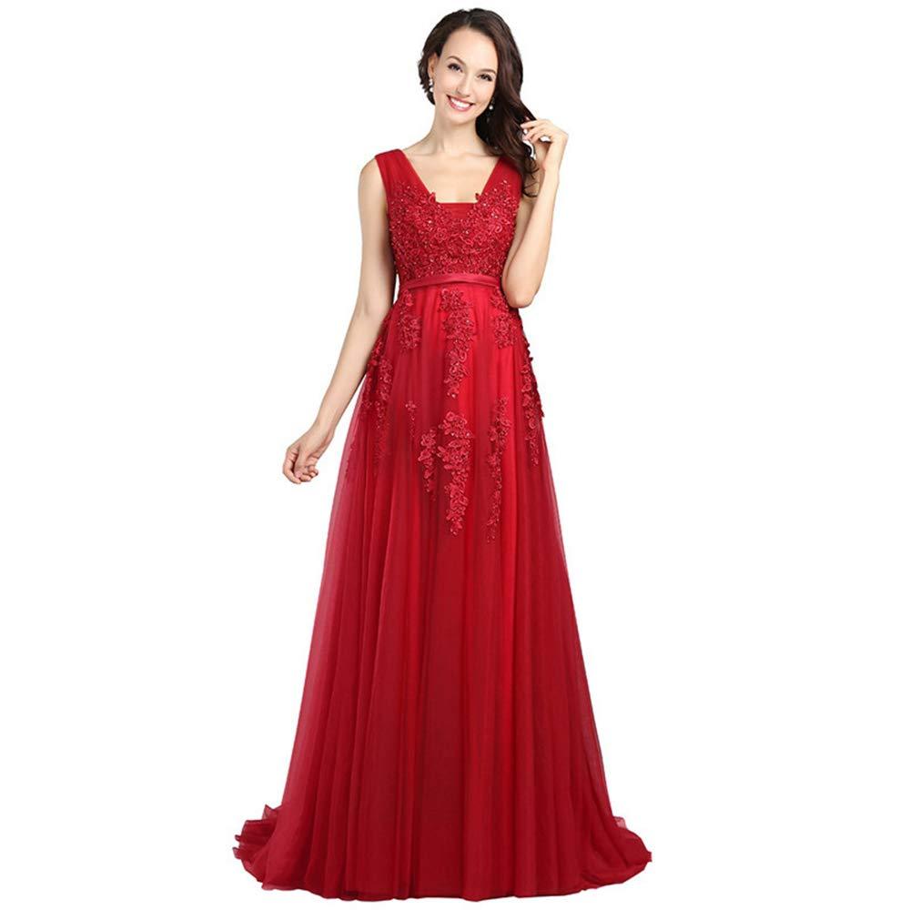 XXXXL BCSHF Robe de Demoiselle d'honneur Appliques de Dentelle Double col en v Tulle Appliques Longues Robes Sexy pour la Robe de mariée du Soir pour la Noce (Taille   XXXL)