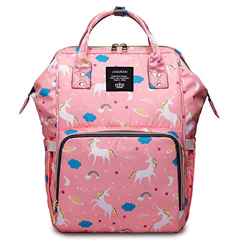 Unicorn Multi-Function Diaper Bag for Baby Care Travel Backpack Wide Open Nappy Bags Handbags Waterproof Lightweight Large Capacity Pink