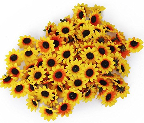 Artificial Little Sun Flower Heads Silk Pack of 100 Yellow