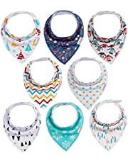ALVABABY Baby Bandana Drool Bibs for Boys and Girls 8 Pack Sets
