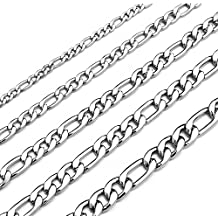 Monily 16-30 Inches Figaro Chain Necklace 4-8.5MM Stainless Steel Figaro Link Chain for Men Women