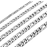 Monily 30 Inches Figaro Chain Necklace 8.5MM Stainless Steel Figaro Link Chain for Men Women