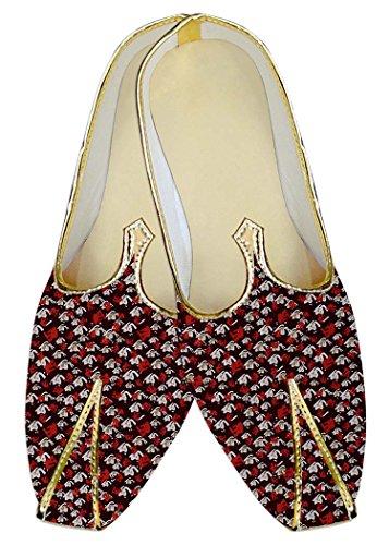 INMONARCH Herren Kastanienbraun Hochzeit Schuhe Weiß und Rot Design MJ014442