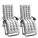 willkey 2Pcs Sun Lounger Cushion Pads Replacement with Non-slip Cover and 6Pairs Bands Portable Garden Patio Thick Padded Bed Recliner Relaxer Chair Seat Cover for Travel Holiday Gray 170 * 53 * 7cm