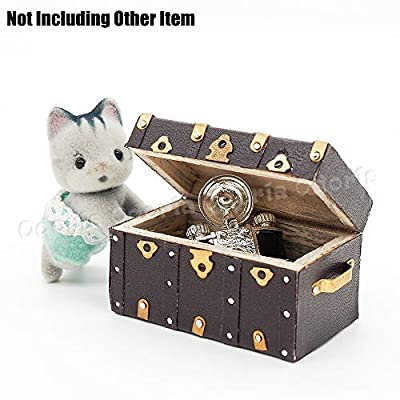 Odoria 1:12 Miniature Vintage Treasure Chest Wooden Case with Leather Cover Dollhouse Decoration Accessories: Toys & Games