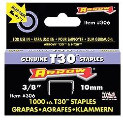 Arrow Fastener 306 Genuine 38-inch Thin Wire Staples For T30 Staple Gun, Ht 30 Hammer Tacker, 1,000-pack