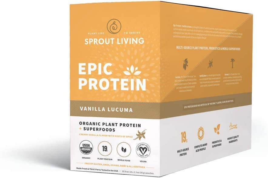 Sprout Living Epic Protein, Vanilla Lucuma, 16 Count