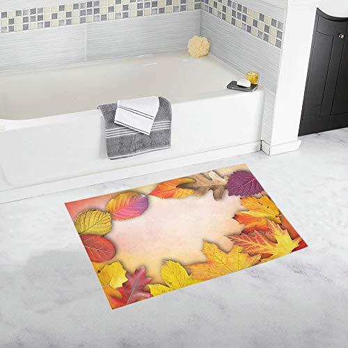 Autumn Banner Poster Text Box Invitation Map Custom Non-Slip Bath Mat Rug Bath Doormat Floor Rug for Bathroom 20 X 32 Inch ()