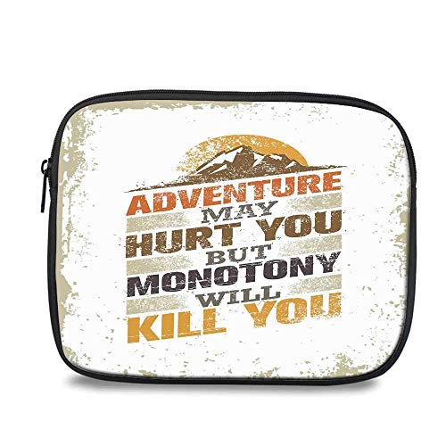 Adventure Tablet Sleeve Case Pocket Bag,Adventure Versus Monotony Quote with Sun and Mountains Movement Suggesting Image Decorative for School Office,Compatible with 9.7 Inch iPad Air 2