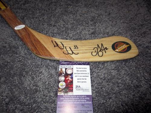 Signed Daniel Sedin Hockey Stick HENRIK & w COA JSA Certified Autographed NHL Sticks