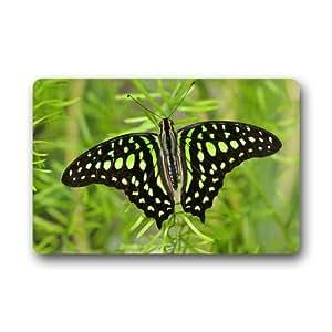 """Personalizado moda Evergreen Verde Flores y mariposa lavable Durable felpudo personalizado Home Decor 23.6""""(L) X 15,7(W)"""