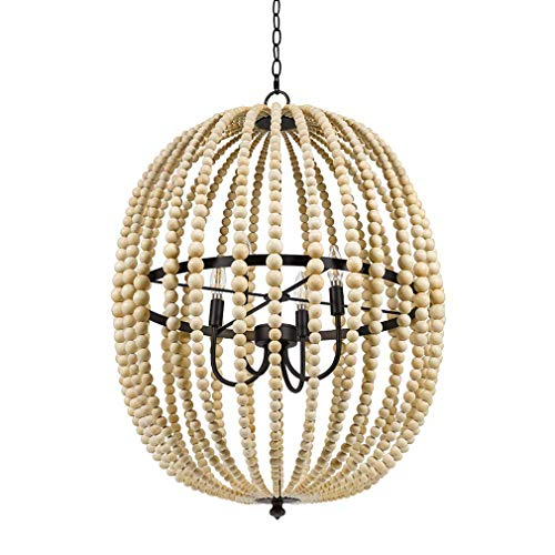 Bead Chandelier - Stone & Beam Modern Farmhouse Round Wood Bead Cage Chandelier Ceiling Fixture With 4 LED Light Bulbs - 23 x 23 x 33 Inches, Natural