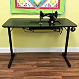 Arrow 611F Sewing Table for Vintage Singer Featherweight Sewing Machines 221 and 222, Portable with Wheels and Lift, Black Finish