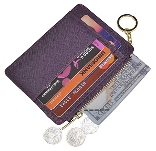 (Womens Slim RFID Credit Card Holder Mini Front Pocket Wallet Coin Purse Keychain (Crosshatch)