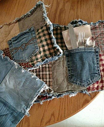 Rag recycled denim & homespun pocket placemats, set of 4, reversible, handmade, silverware NOT included ()