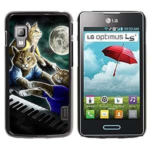 iKiki Tech / Estuche rígido - Cats Art Painting Piano Moon - LG Optimus L5 II Dual E455 E460