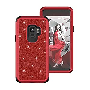 Galaxy S9 Plus Case, AOKER [Sparkly Glitter Texture] Three Layers Heavy Duty Shockproof Fashion Luxury Bling Glitter Sparkle Defender Protective Case Cover for Samsung Galaxy S9 Plus 2018 (Red-Black)