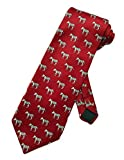 Parquet Men's Zebras Necktie Neck Tie - Red - One Size.
