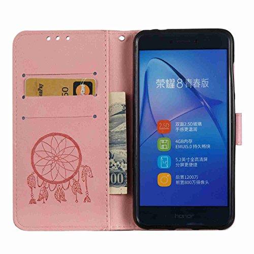 Funda Huawei P8 Lite 2017, 5.2 pulgadas, Cáscara Huawei P8 Lite 2017, Alfort Casco de Protección Relieve Carcasa PU Cierre Magnético Carcasa del teléfono con una función de Soporte y la Cartera La alt Rosado