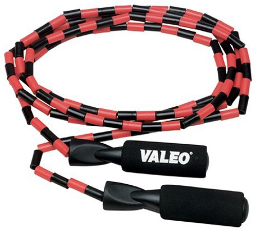 Valeo Beaded Jump Rope, Adjustable 9-Foot Length With Durable Plastic Beaded Nylon Rope And Molded Handles With Foam Grips, VA4451MU -