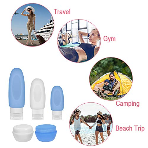 Selizo 10 Leakproof Silicone Travel Bottles Squeeze Bottle Container for Cosmetic Toiletry Containers Shampoo Lotion Condiment