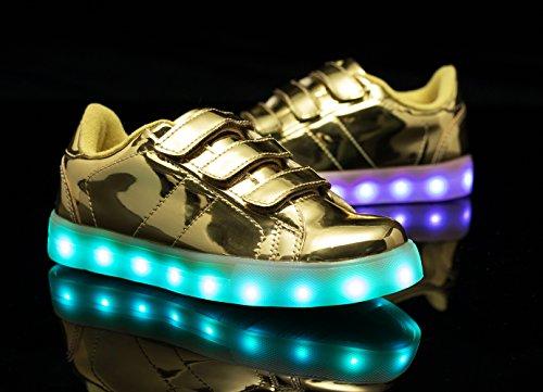Santiro Unisex Muchacha de los Muchachos de La Carga del USB LED de Luz Luminosa Zapatillas Deporte Patín. Gold