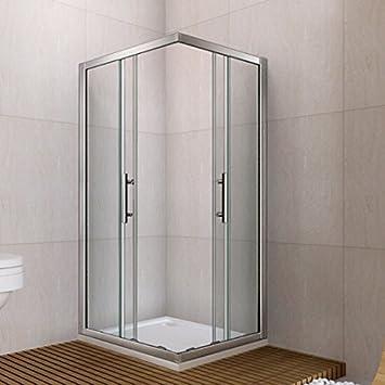 Aica 800 x 800 mm double porte coulissante de douche d'angle d'entrée - cadres - en métal chromé-verre transparent