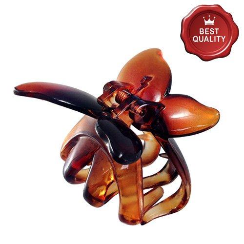 K150-003 - Pinza per capelli farfalla cm 4 colore marrone tartaruga - Fermacapelli Pinze Righe e Pois