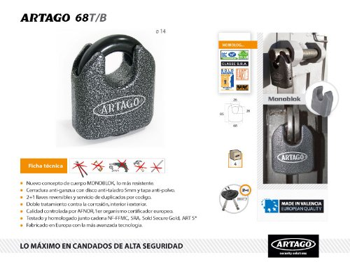 Artago Secure 68T/B Extreme Security padlock / Chain lock - Mono-Block body / maximum security level - - Amazon.com