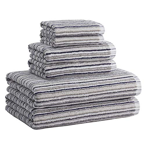 Truly Lou Bamboo and Cotton 6 Piece Striped Bath Towel Set | Soft, Absorbent and Eco-Friendly | Decorative Multi Color Stripes | 2 Bath Towels, 2 Hand Towels, and 2 Washcloths (Blue/Grey)