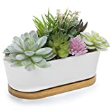 MyGift Artificial Succulent Plant Arrangement in Ceramic Trough Planter & Bamboo Tray