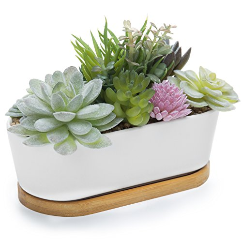 MyGift Artificial Succulent Plant Arrangement in Ceramic Trough Planter & Bamboo Tray by MyGift