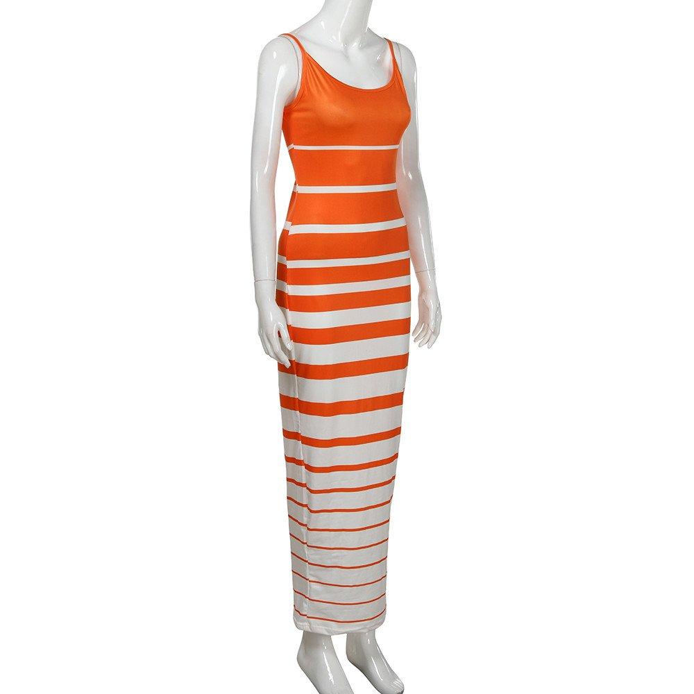 Chanyuhui Women Tank Tops Dresses Lady Stripe Bodycon Sleeveless Evening Party Long Maxi Dress