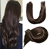 Tape In Human Hair Extensions Brazilian 20pcs 50gram Silky Straight Seamless Thick End Hair Skin Weft Human 100% Remy Hair (16 inch, #2 Dark Brown)