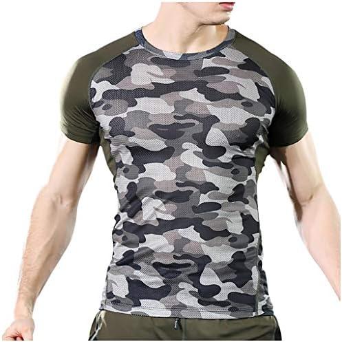 [해외]Mens Short Sleeve Workout T-Shirt Dry Fit Camouflage Color Block Mesh Gym Activewear Tee Top / Mens Short Sleeve Workout T-Shirt Dry Fit Camouflage Color Block Mesh Gym Activewear Tee Top