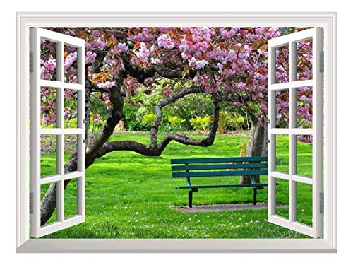 Removable Wall Sticker Wall Mural Cherry Blossom in Spring Creative Window View Wall Decor