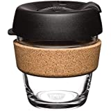 KeepCup Brew Cork, Extra Small 6oz Reusable Glass Cup with Cork Band, Black