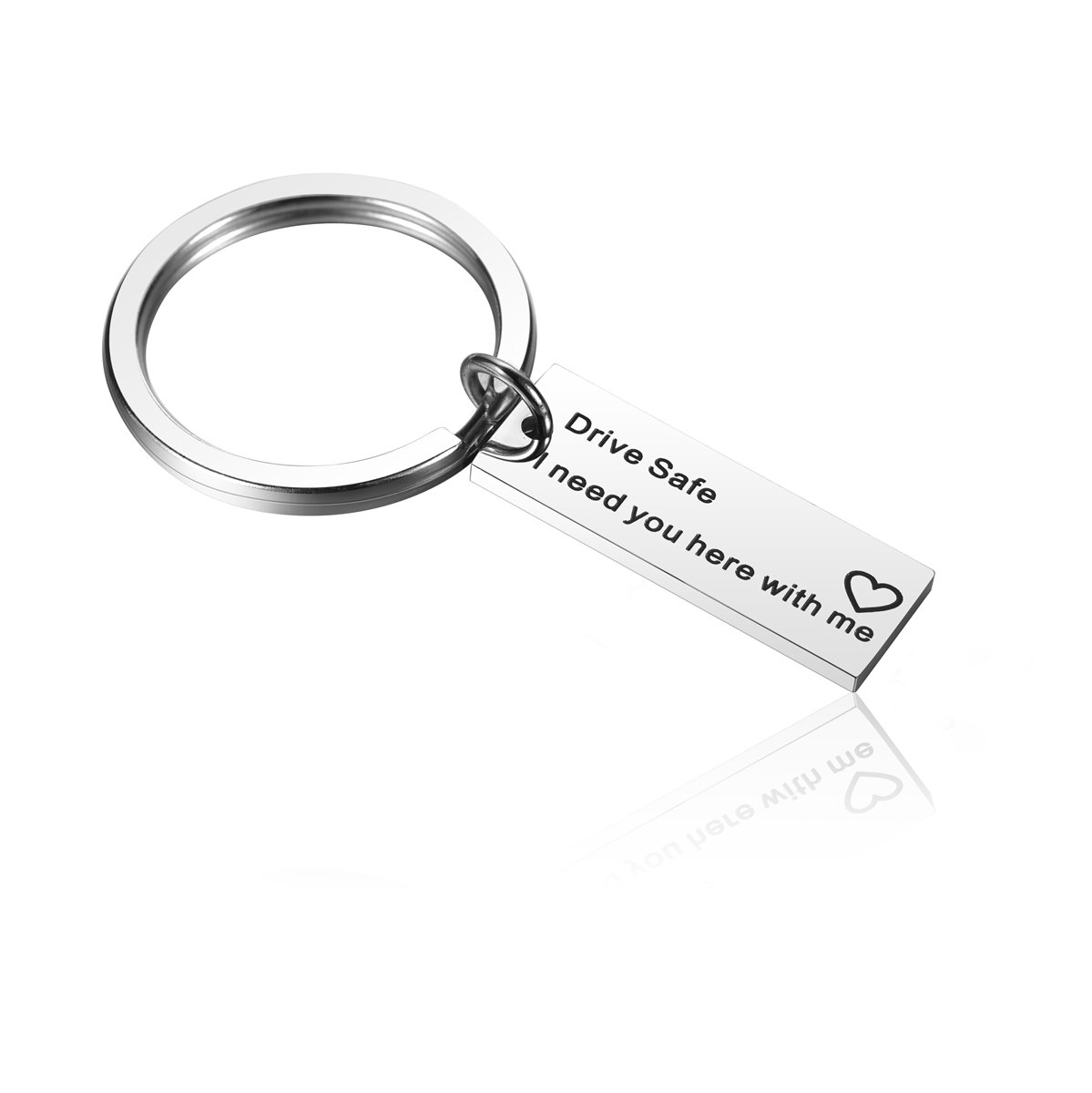 Alxeani Drive Safe Keychain for Trucker, Dad, Husband, Fiance, Boyfriend, Sweet 16 Gift, Drive Safe I Need You Here With Me Keychain