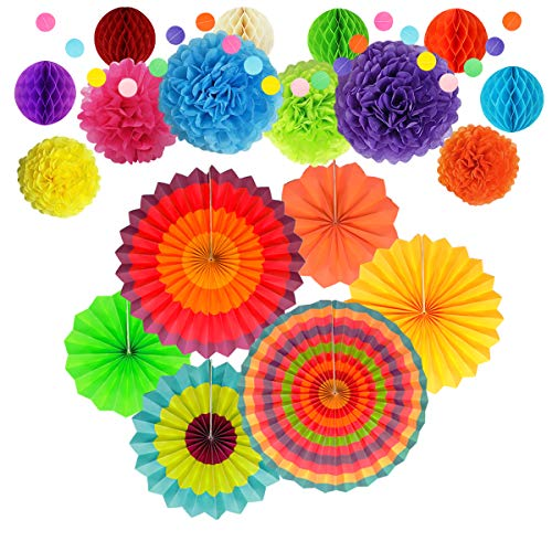 Party Decoration, Multi-Color Hanging Paper Fans, Tissue Pom Poms Flowers, Garlands String Polka Dot and Honeycomb Ball for Birthday Parties, Wedding Décor, Fiesta or Mexican Party (20 PCS)]()