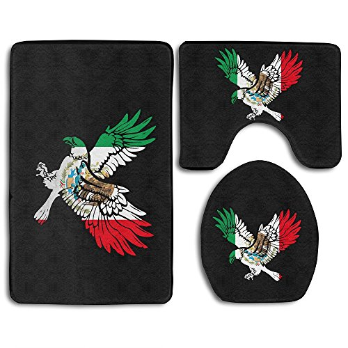 BesArts Perfect Gifts - Soccer Football World Cup Eagle Mexican Flag Skidproof Toilet Seat Cover Bath Mat Lid Cover by BesArts